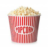 Bucket With Fresh Tasty Popcorn Isolated On White. Cinema Snack poster