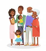 Vector Illustration Of Big Happy Family Portrait. African American Grandparents, Parents And Childre poster