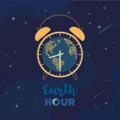Earth Hour Day Concept. Stop Polluting The Globe. Support Promise For Planet Actions, Change Global  poster