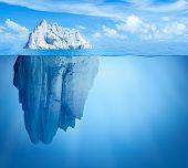 Iceberg in ocean. Hidden threat concept. 3d illustration. poster