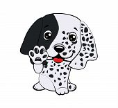 Dog Puppy English Setter. Children Vector Illustration Of Funny Little Sitting Puppy Dog Raised His  poster
