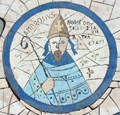 Saint Ambrose, Mosaic in front of the church on the Mount of Beatitudes