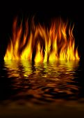 Fire On Water On A Black Background
