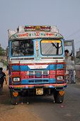 KUMROKHALI, INDIA - JANUARY 12: Typical, colorful, decorated public transportation bus in Kumrokhali