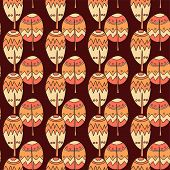 Handdrawn Seamless Doodle Pattern Of Trees In Bright Funny Colors - Cartoon Style poster