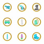 Surfing Trip Icons Set. Cartoon Set Of 9 Surfing Trip Icons For Web Isolated On White Background poster