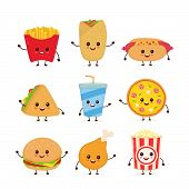 Cute Funny Smiling Happy Fast Food And Snacks Set Collection.vector Flat Cartoon Character Illustrat poster