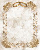 Wedding Rings Invitation Gold