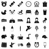 Childcare Icons Set. Simple Style Of 36 Childcare Icons For Web Isolated On White Background poster