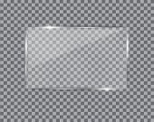 Glass Plate On Transparent Background. See Through Mock Up Square Shape. Vector Elements With Glares poster