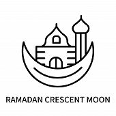 Ramadan Crescent Moon Icon Isolated On White Background. Ramadan Crescent Moon Icon Simple Sign. Ram poster