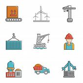 Heavy Industry Icons Set. Cartoon Set Of 9 Heavy Industry Icons For Web Isolated On White Background poster