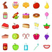 Dessert Icons Set. Cartoon Set Of 25 Dessert Icons For Web Isolated On White Background poster