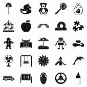 Children Spontaneity Icons Set. Simple Set Of 25 Children Spontaneity Icons For Web Isolated On Whit poster