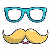 Nerd Glasses And Mustaches Icon. Cartoon Illustration Of Nerd Glasses And Mustaches Icon For Web Des poster