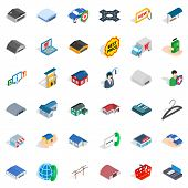 Privacy Deposit Icons Set. Isometric Style Of 36 Privacy Deposit Icons For Web Isolated On White Bac poster