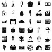 Dessert Icons Set. Simple Style Of 36 Dessert Icons For Web Isolated On White Background poster