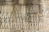 Ancient Khmer religious parade frieze