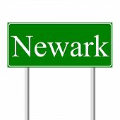 Newark green road sign