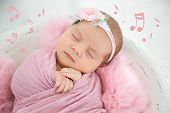 Cute Newborn Girl Lying In Baby Nest And Flying Music Notes, Closeup. Lullaby Song poster