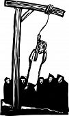 foto of gallows  - Expressionist woodcut style Girl being executed by being hung from the gallows and watched by a crowd - JPG