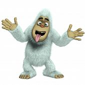 stock photo of bigfoot  - crazy 3 d cartoon cute white bigfoot toy yeti - JPG