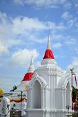 Thai White Pagoda And Blue Sky