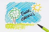 hand painting with the text think green