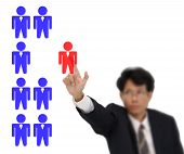 Selection officer of human resources on white background.
