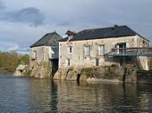 pic of anjou  - XIXth century wheat mill on the Loir river Villeveque Anjou France - JPG