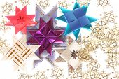 Origami Stars  On The Snowflake Garland
