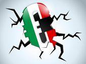 Euro Money Crisis Italy Flag Crack On The Floor