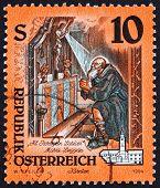 Postage stamp Austria 1994 Altarpiece, St. Peregrinus Praying