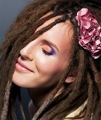 stock photo of iroquois  - Dreadlocks hairstyle - JPG