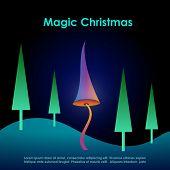 Magic christmas greeting card