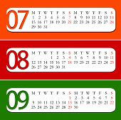 2013 Calendar - July, August, September