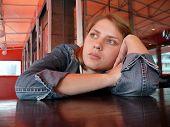 Girl Wait A Food In Restaurant