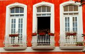 Three Balconies In Red