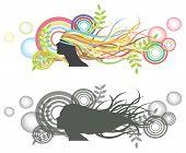 Ondeante cabello en la mujer maniquí con telón de fondo de burbuja