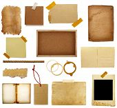 pic of wood pieces  - collection of various grunge paper pieces on white background - JPG