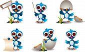 cute blue bird family cartoon set