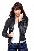 image of straight jacket  - Glamorous young woman in black leather jacket on white background - JPG