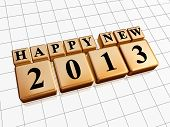 Happy New Year 2013 In Golden Cubes