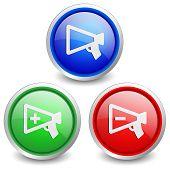 Set of 3 popular buttons - horn