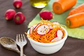 pic of grated radish  - Grated Carrot with Radish and sesame salad