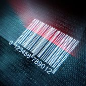 Pixeled barcode illustration on digital screen
