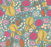 Color Floral Sketch Seamless