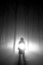 picture of x-files  - A figure of a person standing with lights behind - JPG