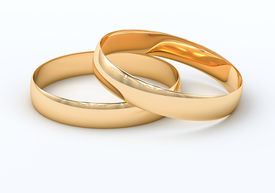 picture of glans  - Wedding rings on a light background with reflections - JPG