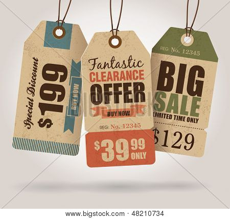 Vintage Style Sale Tags Design poster